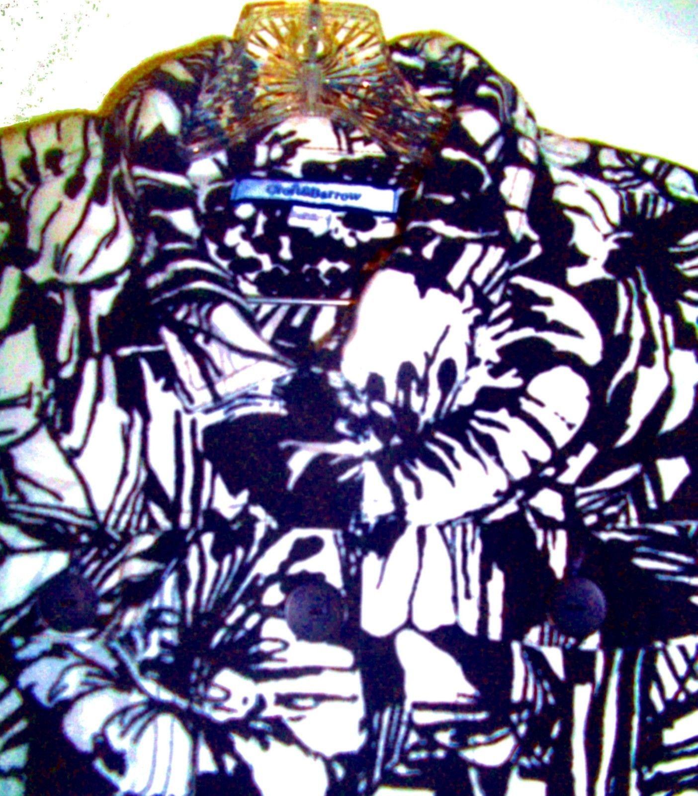 Plus Size XL/0X/1X - Croft & Barrow Black & White Thick Linen Blend Shirt