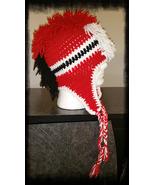 Red, White & Black Handmade Crochet Mohawk Hat - $30.00
