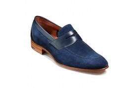 Handmade Men's Nave Blue Suede Slip Ons Loafer Shoes image 1