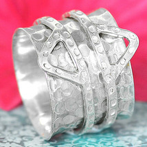 Triangles Spinner Ring Sterling Silver 925 Wide Band Hammered Women Size... - $29.98