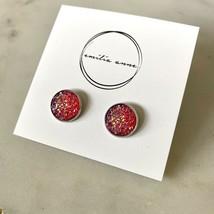 Druzy Quartz Post Earrings Sparkle Scott Dark Clear Pink Crystal Stone D... - $21.34