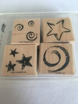 Stampin Up Stars and Swirls Mounted Stamp Set 4th of July 2001 Crafting Set 4 - $9.90