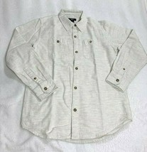 Gap Kids Boys Long Sleeve Button Down Heather Off White Shirt Size L EUC - $7.91