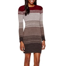 BCX, Women's, Long-Sleeve Striped Sweater Dress, Dark Red, Sz. Large - $29.21
