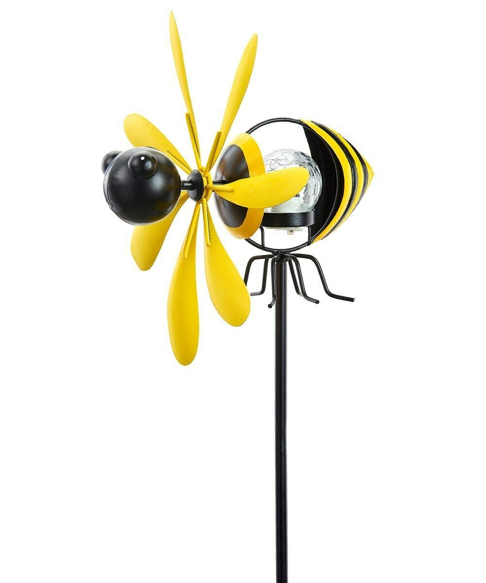 "35"" Bee Wind Spinning Solar Double Pronged Garden Stake Black Yellow"