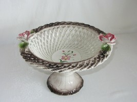Vtg Capodimonte Pedestal Lattice Basket Bowl Roses Porcelain Centerpiece Italy - $50.48