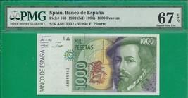 Spain  Pick# 163 1000 Pesetas 1992 (ND 1996) , PMG 67 EPQ - $93.40