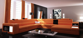Polaris Orange Italian Leather Sectional Sofa - $2,399.00