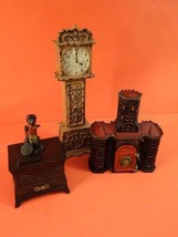 "All Original Antique Large Grandfather Clock Cast Iron BANK Height 11"" !! - $1,195.00"