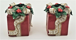 Avon 2001 Pair Christmas Present Taper Candle Holders Gift Box Red Holly... - $14.50