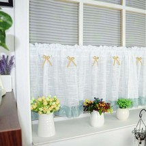 CURTIANS Style White Half curtain Embroidery Window Valance Customize Li... - $14.22