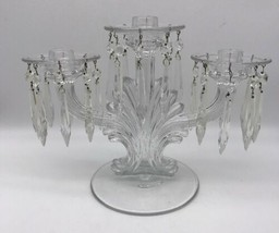 Fostoria 3 Light Candlestick with Bobeches & 24 Prisms in 2484 Clear (#17-1335) - $56.05