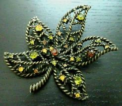 Vintage Signed Avon rhinestone Leaf flower Brooch Pin 2.5 inch - $9.89