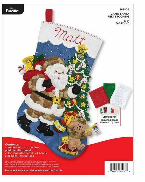 Primary image for Bucilla 'Camo Santa' Christmas Stocking Stitchery Kit, 86980E