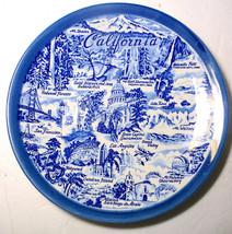 """Vintage 9"""" Blue & White California Souvenir Plate Signed Paul L. Davidson - $19.79"""