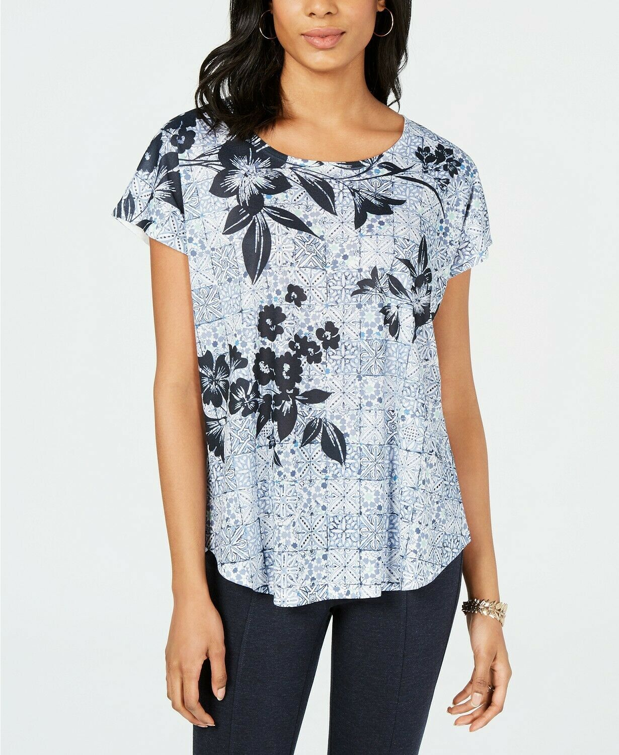 Primary image for Style & Co. Women's Blue Short-Sleeve Printed Dolman Top Petite Size PM $29