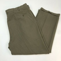 Haggar eCLo Stria Dress Pants Mens 46X32 Olive Pleated Classic Fit Hemme... - $18.95