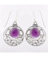 Purple Amethyst Circle Solid 925 Sterling Silver Earrings, Handmade Jewe... - $28.99