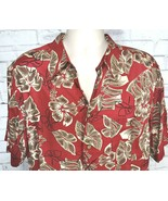 Vintage Mens Ron Chereskin Hawaiian Shirt Size L Red Floral Palm Leaves - $24.95