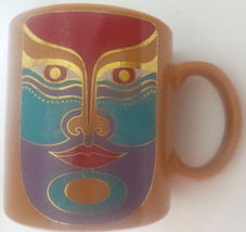 Laurel Burch Machado Coffee Mug Golden Brown Made in Japan Unique Special - $18.55