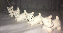 "Set Of 4 Yorkshire Terrier Omnibus Figurines Bisque Sitting 1 1/2"" Vinta... - $23.33"