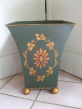 "Green Metal Larger Planter Pot Container Golden Bronze Feet Floral 13""T ... - $19.76"