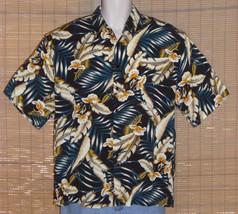 Ringo Sport Hawaiian Shirt Black Blue Tan Leaves Flowers Size Large - $19.79