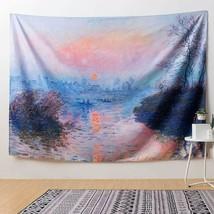 "Nice Tapestry Monet Painting Sunrise Horizon Lake Impression 51x59"" Wall... - $29.00"
