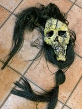 CREEPY ZOMBIE SKELETON HALLOWEEN ADULT FULL HEAD MASK LONG HAIR BEARD  - £8.27 GBP