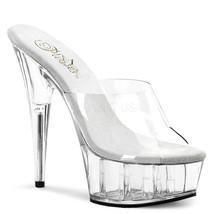 "PLEASER Sexy Stripper Dancer Clear Platform Slip On 6"" High Heels Exotic Shoes - $37.95"