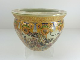 Asian Fishbowl Planter Hand Painted in Moriage Technique Fish Florals & ... - €80,73 EUR
