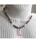 Judy Strobel Carved Rose Quartz Love Cat Necklace - $39.95