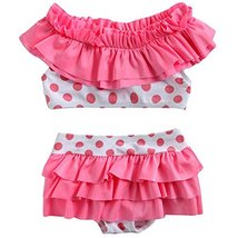 Cute Baby Girls Pink Bikini Beach Suit Lovely Swimsuit 1-2 Years Old(80-90cm) image 2