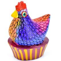 Handmade Alebrijes Oaxacan Painted Wood Folk Art Chicken Hen Basket Figure image 1