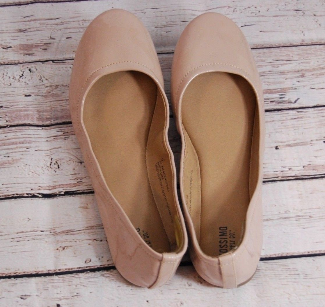 MOSSIMO Nude Beige Stretch Faux Patent Slip On Ballet Flats - Size 9