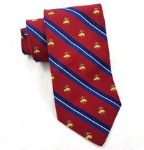 Brooks Brothers Makers Deep Red Blue Striped Logo Silk Neck Tie 55 Inche... - $29.58