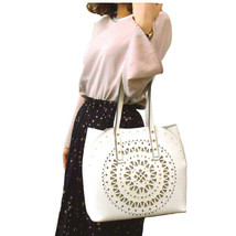 NWT Furla LIMITED EDITION AURORA Laser Cut Large Tote Bag - Off White - $555.00