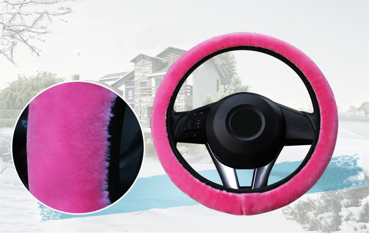 3Pcs Pink Winter Steering Wheel Cover Handbrake Car Automatic Cover Warm Plush