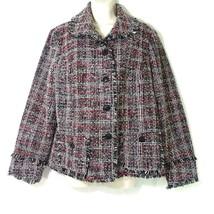 Chicos Tweed Fringe Blazer Women Size 3 XL 16 Black Pink Gray Button Fon... - $29.69