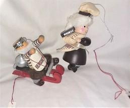 2 Ornaments Kurt Adler Hershey Chocolate Mr Mrs Santa Wooden - $14.74