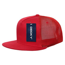 5 Panel Flat Bill Trucker Cap - Red (Decky 1040-RED, New with Tags) - £5.40 GBP