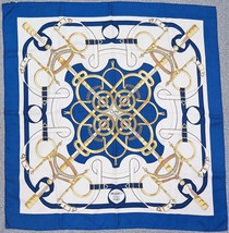 "Authentic HERMES ""Eperon d'Or"" Blue 100% Silk Scarf #31092 - $245.00"
