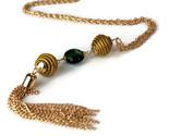 Tassel Murano Glass Necklace, Long Tassel Golden Grass Necklace, Genuine Murano  - $50.87 CAD