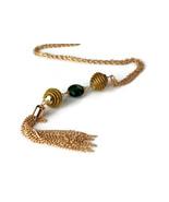 Tassel Murano Glass Necklace, Long Tassel Golden Grass Necklace, Genuine... - $38.40