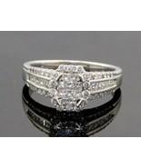 Women's 14K White Gold Princes Round Diamond Halo Engagement Promise Rin... - $717.75