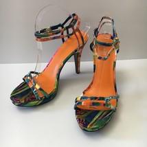 Nine West Malinda Tropical Floral Print Fabric Platform Sandals High Hee... - $34.58