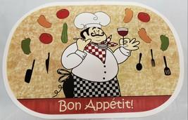 """Set of 6 Kitchen Vinyl NON CLEAR Placemats (18""""x12"""") FAT CHEF Bon Appeti... - $19.79"""