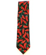 Fratelli Black Red Chili Peppers Necktie Tie Novelty - $7.87