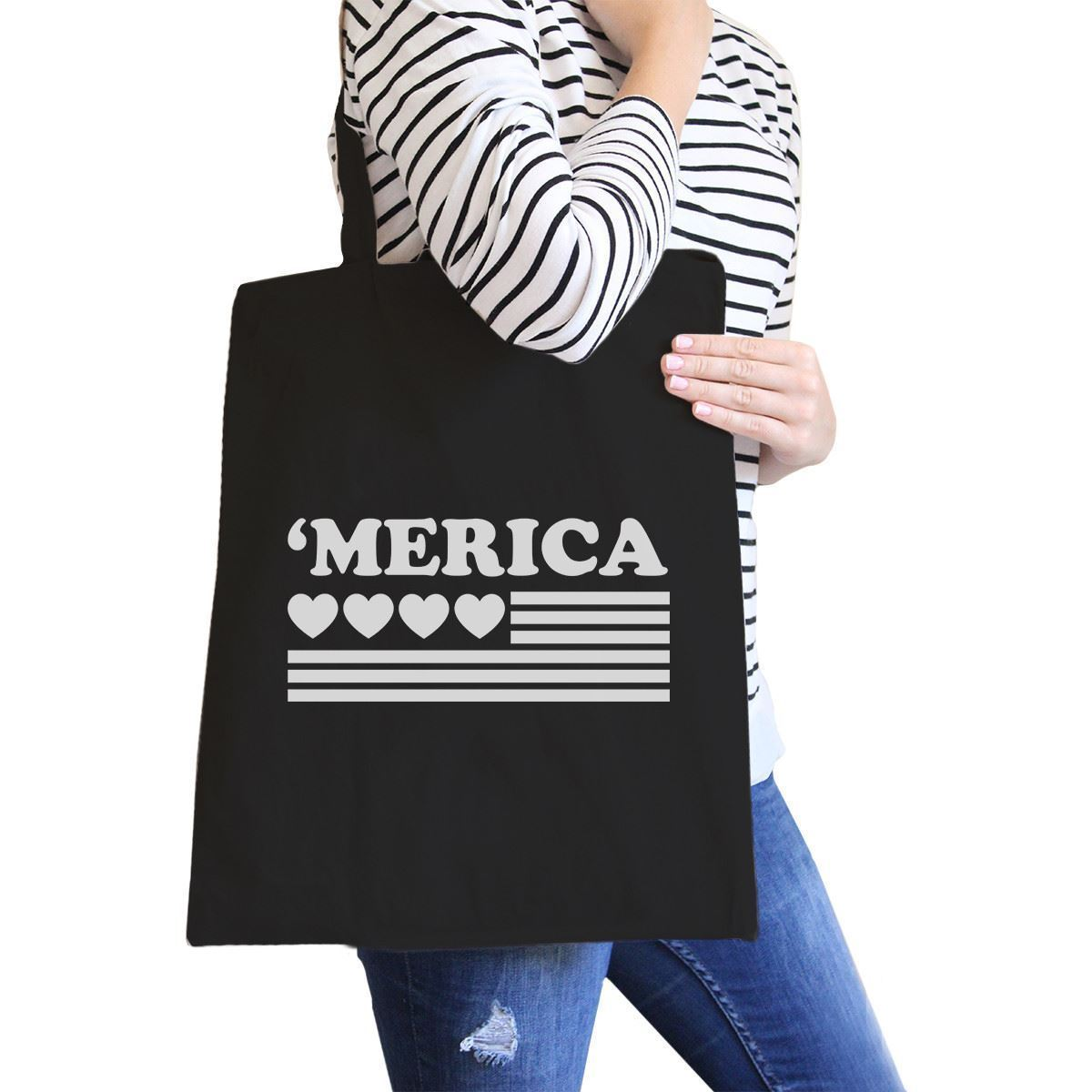 Primary image for Heart 'merica Black Canvas Bag Unique Fourth of July Canvas Tote