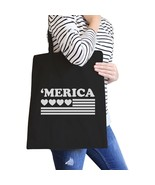 Heart 'merica Black Canvas Bag Unique Fourth of July Canvas Tote - $15.99